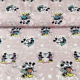 Bavlněná látka Mickey and Minnie Forever digital print