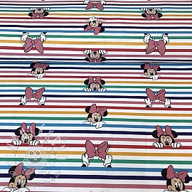 Bavlněná látka Rainbow Minnie stripes digital print