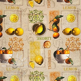 Dekorační látka Lemon and tangerines digital print