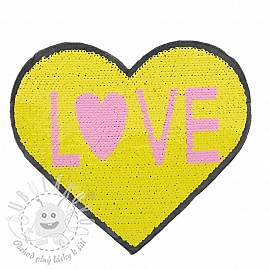 Flitry oboustranné Heart love yellow