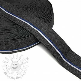 Guma hladká 4 cm BLUE STRIPE dark grey
