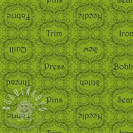 Bavlněná látka THE QUILTED COTTAGE Sewing words lime
